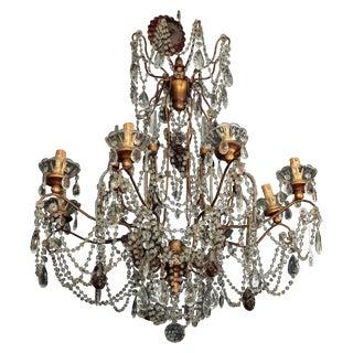 1920's Italian 8-Light Beaded Crystal Chandelier
