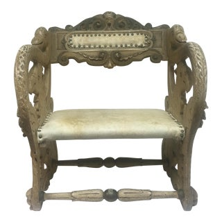 Antique Carved Swan and Griffin Carousel Seat
