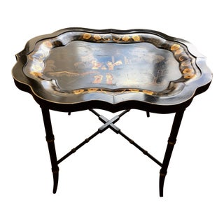 English Chinoiserie Black & Gold Tole Tray Table
