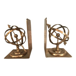 Spherical Brass Bookends - A Pair