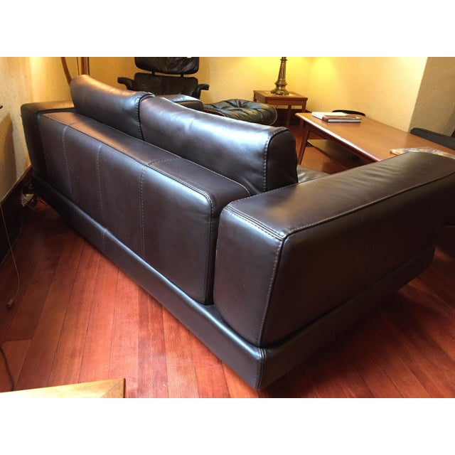 Image of Roche Bobois Low Profile Leather Loveseat