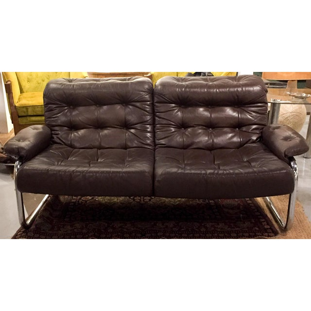 Mid-Century Leather & Tubular Chrome Loveseat - Image 2 of 5