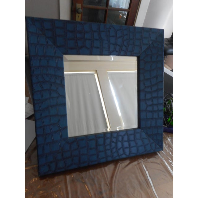Image of Modern Blue Leather Faux Crocodile Mirror