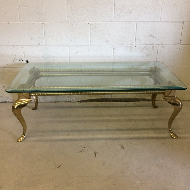 Coffee Table Legs Brass: Brass & Glass Cabriolet Leg Coffee Table