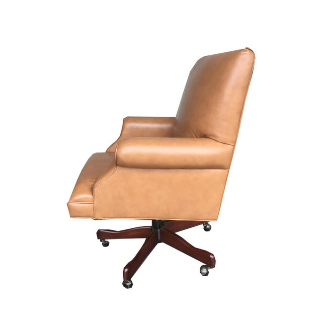 tan leather chesterfield style executive office chair chairish