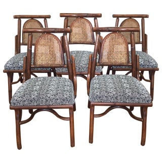 Bamboo & Rattan Cane  Dining Chairs - Set of 6