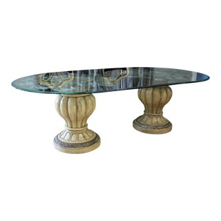 19th Century Italian Wood & Glass Dining Table