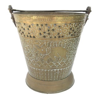 Antique Brass Elephant Pail/Planter/Ice Bucket