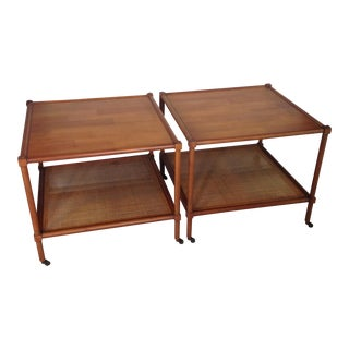 Vintage Cane Coffee Tables on Rollers - A Pair