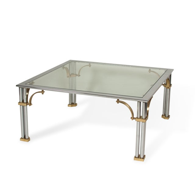 1980s Chrome and Brass Coffee Table - Image 2 of 7