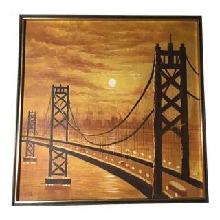 Vintage Mid-Century Suspension Bridge at Sunset Painting