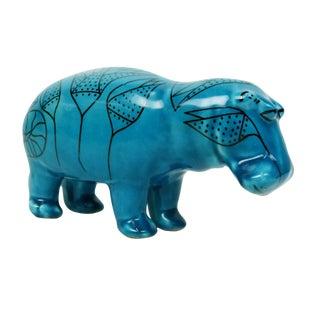 Bitossi Style Italian Blue Hippo Figurine