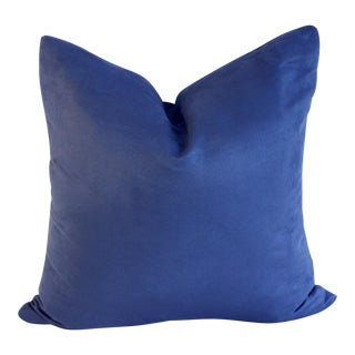 Modern Blue Suede Pillow Cover
