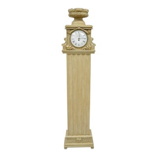French Regency Empire Cream Painted Grandfather Case Standing Clock