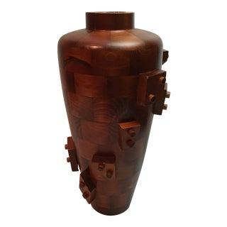 Vintage Brutalist Style Wooden Vase