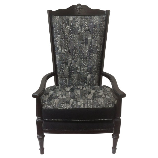 Vintage Armchair in Contemporary Cityscape Fabric - Image 1 of 4