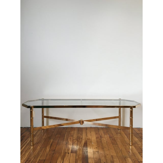Image of Brass and Glass Faux Bamboo Coffee Table