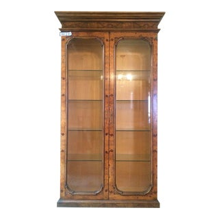 Antique Burlwood Veneer & Glass Display Cabinet