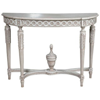 French Louis XVI Style Painted Demilune Console Table