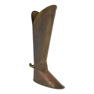 French Antique Brass Boot with Spur Stand