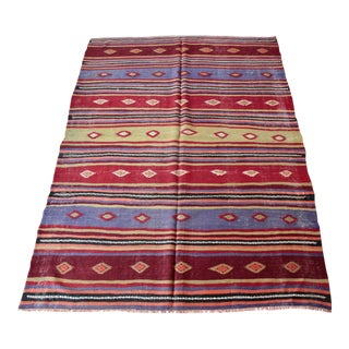 Vintage Nomadic Multi Color Striped Turkish Kilim Rug - 5′7″ × 7′10″