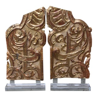 Pair of Monumental Italian Gilt Wood Carvings