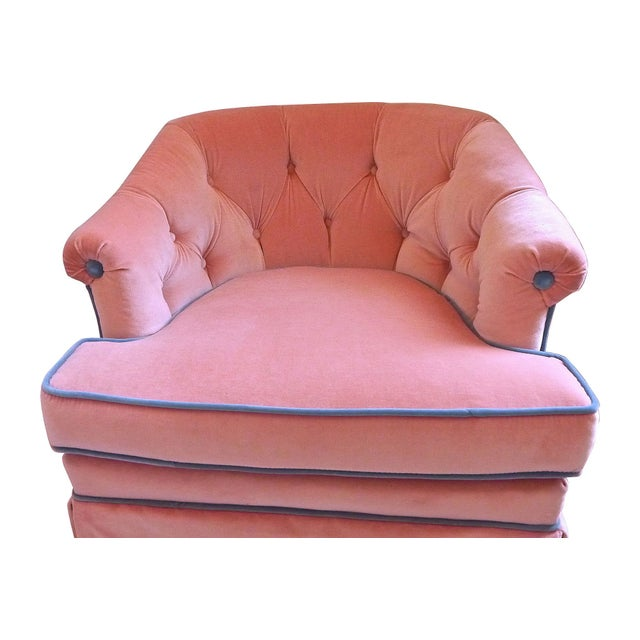 1950s Henredon Pink Velvet Club Chairs - A Pair - Image 2 of 7