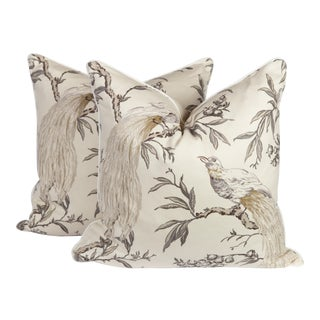 Chinoiserie Bird Pattern Custom Pillows - a Pair