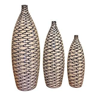 Blue Fish Ceramic Vases - Set of 3