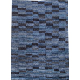 Geometric Blue on Blue Bamboo Silk Tibetan Area Rug - 6' X 9'