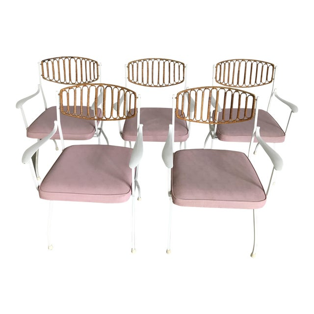 Mid century modern wrought iron rattan patio dining for Modern rattan dining chairs