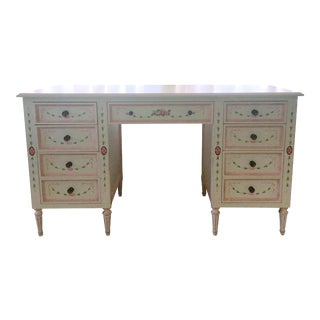 Julia Gray Floral Nine-Drawer Desk