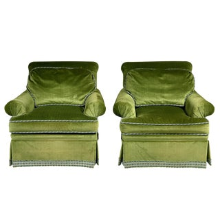 Scalamandre Green Velvet Armchairs - A Pair