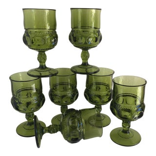 Mid-Century Green Goblet Glasses - Set of 7
