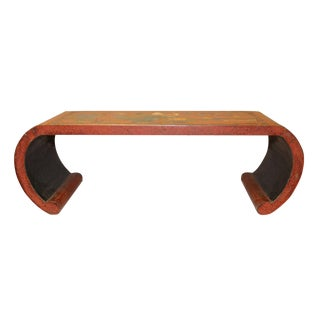 Chinese Orange Red Color Flower Birds Scroll Table Stand