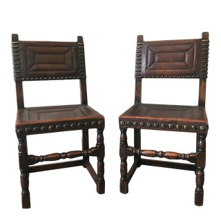 Antique Continental Leather Side Chairs - A Pair