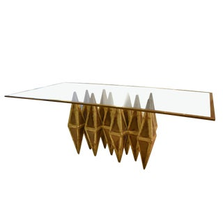 A brutalist dining table