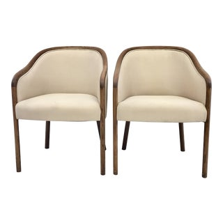 Ward Bennett Transitional Accent Chairs - A Pair