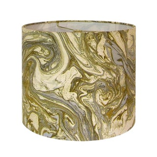New, Made to Order, Gold and Silver Marbled Metallic Fabric, Large Drum Lamp Shade