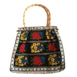 Image of 1970s Folkloric Floral Fabric and Bamboo Handbag