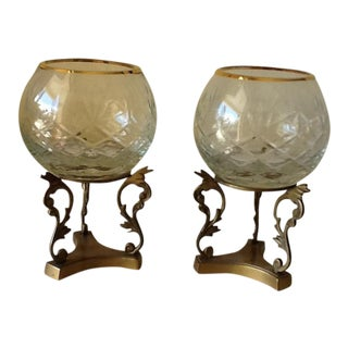 Vintage Chinoiserie Brass & Crystal Candle Stands - a Pair
