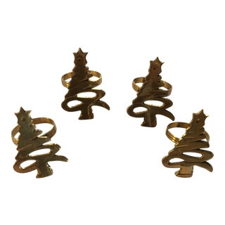 Christmas Tree Brass Napkin Rings - Set of 4