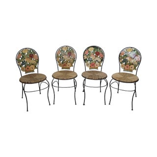 French Country Hand Painted Iron Dining Chairs - Set of 4