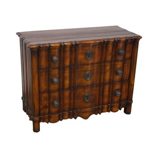 Continental Style Solid Mahogany Serpentine 3 Drawer Chest
