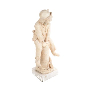 19th century Italian Alabaster sculpture of a Boy jumping a post -by Grossi -Signed