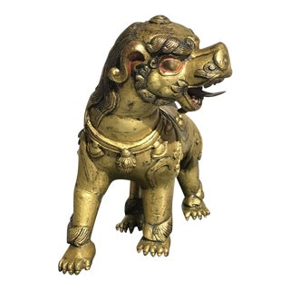 Delightful Tibetan Gilt Bronze Buddhistic Lion