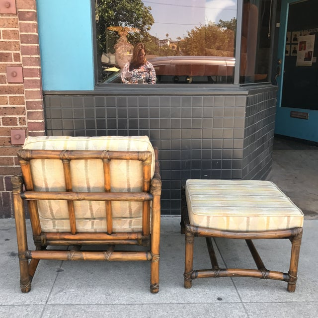 Vintage McGuire Lounge Chair & Ottoman - Image 5 of 10