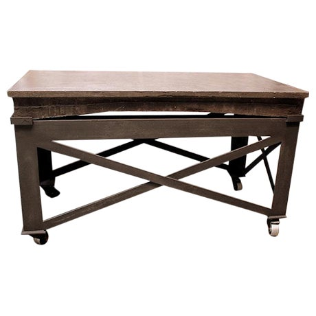 Vintage Industrial Rolling Coffee Table - Image 1 of 3