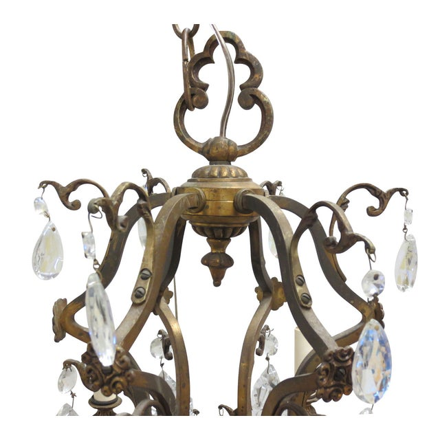 Antique French Gilt Bronze & Crystal Chandelier - Image 4 of 7