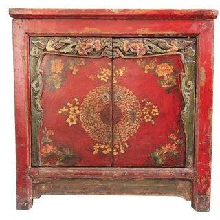 Mongolian Painted Square Cabinet